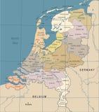 Carte néerlandaise - illustration de vecteur de vintage Photo libre de droits