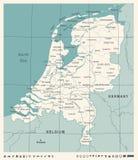 Carte néerlandaise - illustration de vecteur de vintage Photographie stock