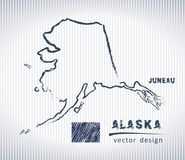 Carte nationale de dessin de vecteur de l'Alaska sur le fond blanc Illustration Stock