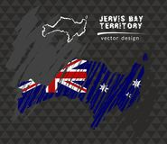 Carte nationale de vecteur de Jervis Bay Territory avec le drapeau de craie de croquis Illustration tirée par la main de craie de Illustration Stock