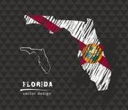 Carte nationale de vecteur de la Floride avec le drapeau de craie de croquis Illustration tirée par la main de craie de croquis Photo stock