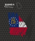 Carte nationale de vecteur de la Géorgie avec le drapeau de craie de croquis Illustration tirée par la main de craie de croquis Images libres de droits