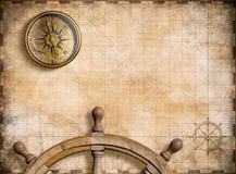 Carte nautique de vintage avec l'illustration du fond 3d de boussole illustration stock
