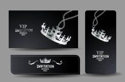 Carte nere di VIP con la corona d'argento strutturata brillante Immagini Stock