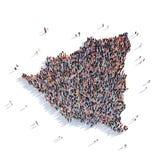 Carte Nicaragua de forme de groupe de personnes Images libres de droits