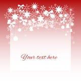 carte Noël-orientée avec des éléments de neige et d'étoile ; rouge illustration de vecteur