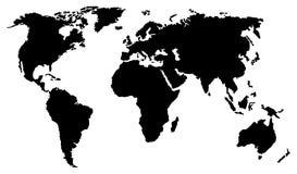 Carte noire du monde d'isolement sur le fond blanc illustration stock