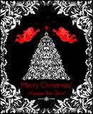 Carte noire et blanche de beau Noël de vintage avec l'arbre floral coupé de Noël, les anges et la frontière décorative Photographie stock