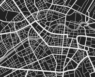 Carte noire et blanche de ville de voyage Fond de cartographie de vecteur de routes de transport urbain illustration stock