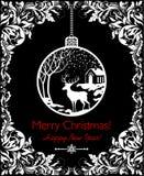 Carte noire et blanche de vintage pour des vacances de nouvelles années et de Noël avec la boule accrochante décorative avec le p Photo libre de droits
