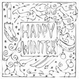 Carte noire et blanche tirée par la main d'hiver heureux Photographie stock libre de droits