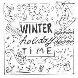 Carte noire et blanche tirée par la main de temps de vacances d'hiver Image stock