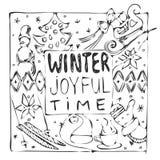 Carte noire et blanche tirée par la main de temps joyeux d'hiver Image libre de droits