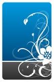 Carte noire et bleue de conception florale Photographie stock
