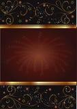 Carte noire et brune avec la conception florale d'or Images stock