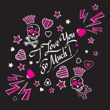 Carte noire et rose sombre et sinistre d'illustration avec des crânes Images libres de droits