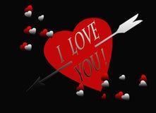Carte noire rouge de flèche d'argent de coeur je t'aime illustration libre de droits