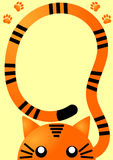 Carte orange d'invitation de tigre Photo libre de droits