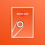 Carte orange de bar à sushis avec la baguette Photos stock