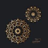 Carte ornementale d'or avec deux mandalas orientaux de fleur sur le noir Images libres de droits