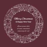 Carte ou bannière de Noël avec des icônes de vacances sur un cadre rond Silhouettes blanches d'un bonhomme de neige, chapeau de S Photo stock