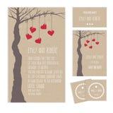 Carte ou invitation de mariage avec un arbre Photos libres de droits
