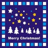 Carte ou invitation de Noël bleue avec la mosaïque Photos stock