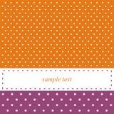 Carte ou invitation orange et violette, points de polka Photo stock
