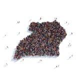 Carte Ouganda de forme de groupe de personnes Photos libres de droits