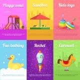 Carte per i bambini con le illustrazioni dei giocattoli divertenti illustrazione di stock
