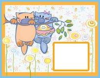 Carte, petits chatons sur l'arbre. Image stock