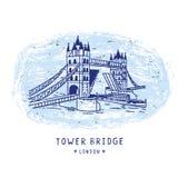Carte peu précise d'illustration de pont de tour de Londres Monument britannique historique célèbre illustration de vecteur