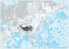 Carte physique de couleur blanche et grise de l'Asie AUCUN texte illustration stock