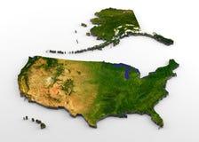 Carte physique des Etats-Unis d'Amérique 3D avec le soulagement illustration stock