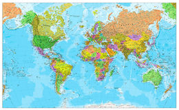 Carte physique du monde Image stock