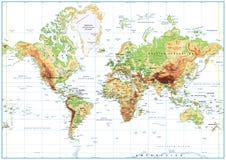Carte physique du monde d'isolement sur le blanc avec l'étiquetage Image libre de droits