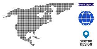 Carte pointillée de l'Amérique du Nord Illustration de Vecteur