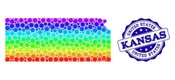 Carte pointillée de spectre d'état du Kansas et de joint grunge de timbre illustration libre de droits