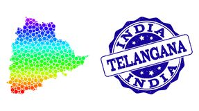 Carte pointillée de spectre d'état de Telangana et de joint grunge de timbre illustration libre de droits