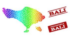 Carte pointillée de spectre d'île de Bali et de joints grunges de timbre illustration libre de droits