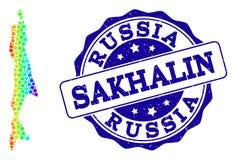 Carte pointillée de spectre d'île de Sakhaline et de joint grunge de timbre illustration de vecteur