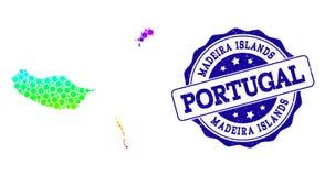Carte pointillée de spectre des îles de la Madère et du joint grunge de timbre illustration stock