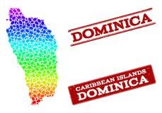 Carte pointillée de spectre de Dominica Island et des phoques grunges de timbre illustration libre de droits