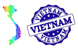 Carte pointillée de spectre du Vietnam et de joint grunge de timbre illustration stock