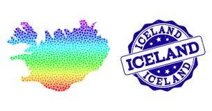 Carte pointillée de spectre de l'Islande et du joint grunge de timbre illustration de vecteur