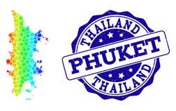 Carte pointillée de spectre de Phuket et de joint grunge de timbre illustration de vecteur