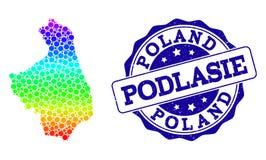 Carte pointillée de spectre de province de Podlasie et de joint grunge de timbre illustration libre de droits