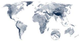 Carte pointillée de vecteur de soulagement du monde Photo stock