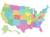 Carte pointillée des Etats-Unis Photo stock