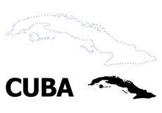 Carte pointill?e par d?coupe de vecteur du Cuba avec le nom illustration de vecteur